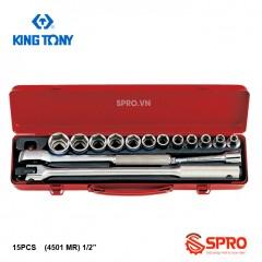 """Bộ khẩu tuýp lục giác 15 chi tiết kingtony 4501MR- 1/2"""" - 8-27mm"""