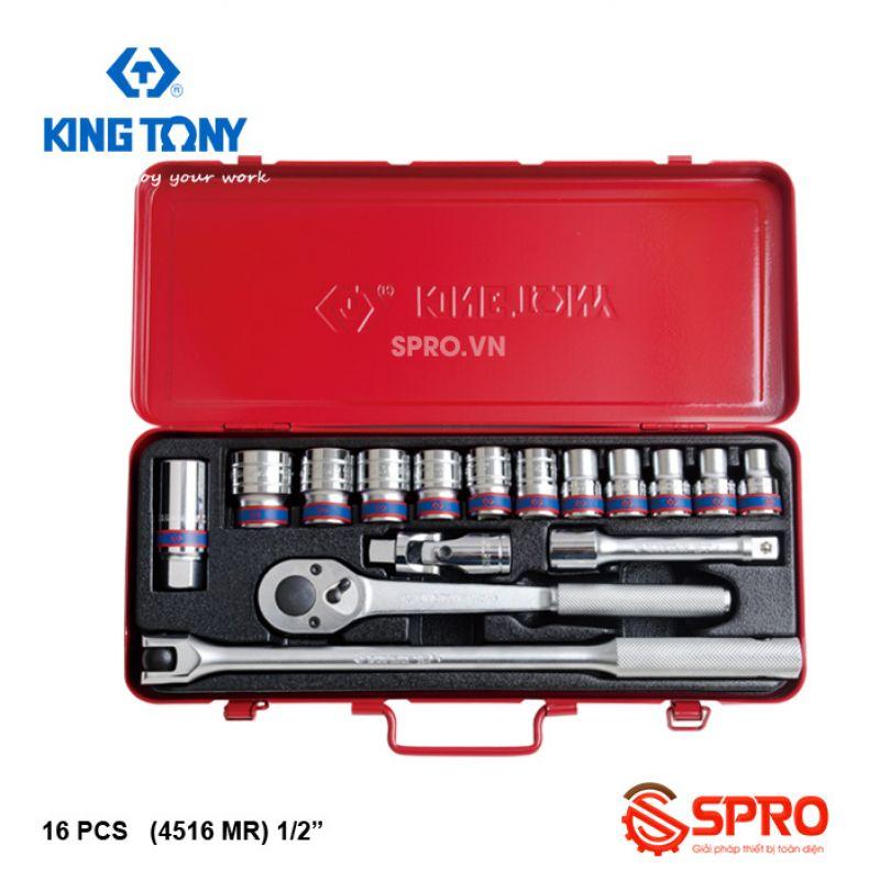 """Bộ khẩu tuýp lục giác 16 chi tiết kingtony 4516MR- 1/2"""",  8-24mm"""