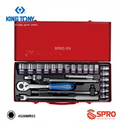 """Bộ khẩu tuýp lục giác Kingtony 24 chi tiết 4526MR03 1/2"""", 8-32mm"""