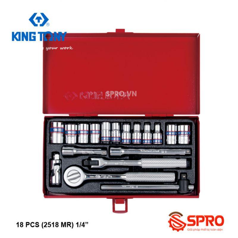 """Bộ khẩu tuýp lục giác 18 chi tiết Kingtony 2518MR 1/4"""", 4-12mm"""