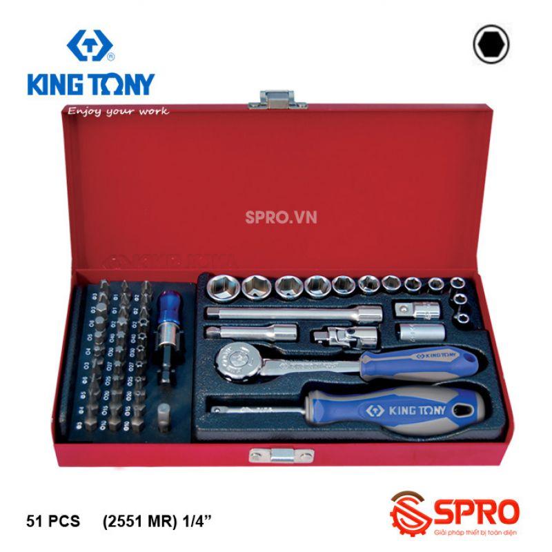 """Bộ khẩu tuýp lục giác 51 chi tiết Kingtony 2551MR 1/4"""", 4-14mm"""