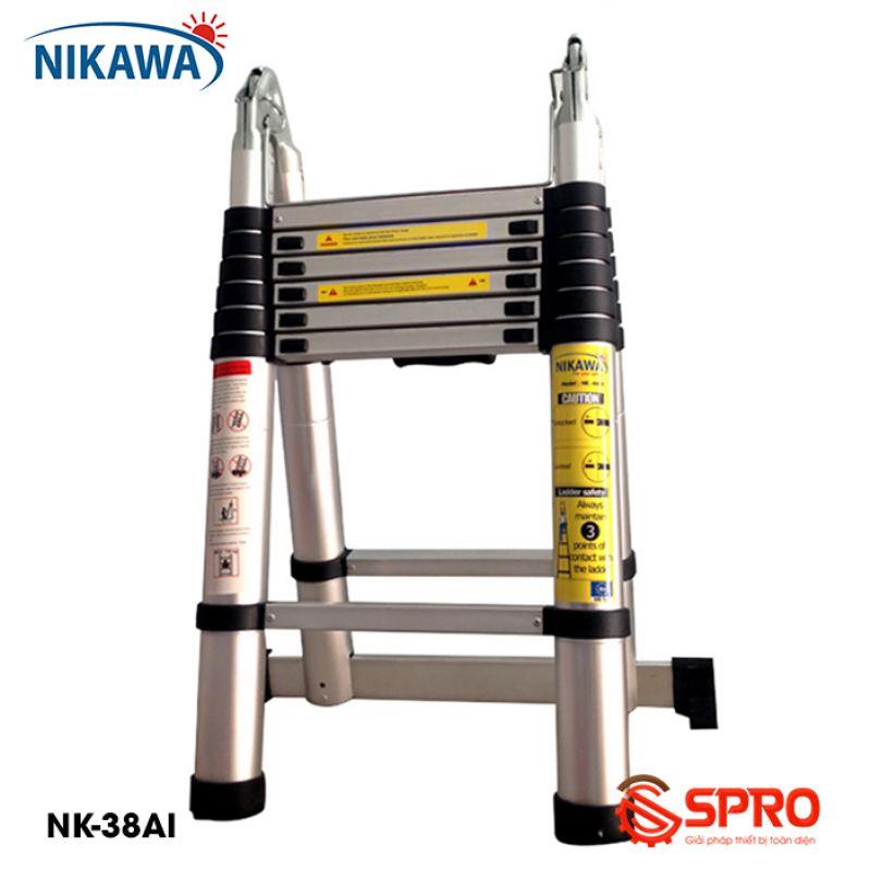 Thang nhôm rút gọn chữ A 2x6 bậc NIKAWA NK-38AI cao 3.8m