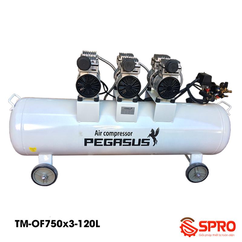 Máy bơm hơi không dầu 3 HP Pegasus TM-OF750x3-120 - dung tích 120L