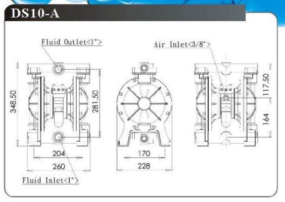 Bản vẽ máy bơm màng DS10