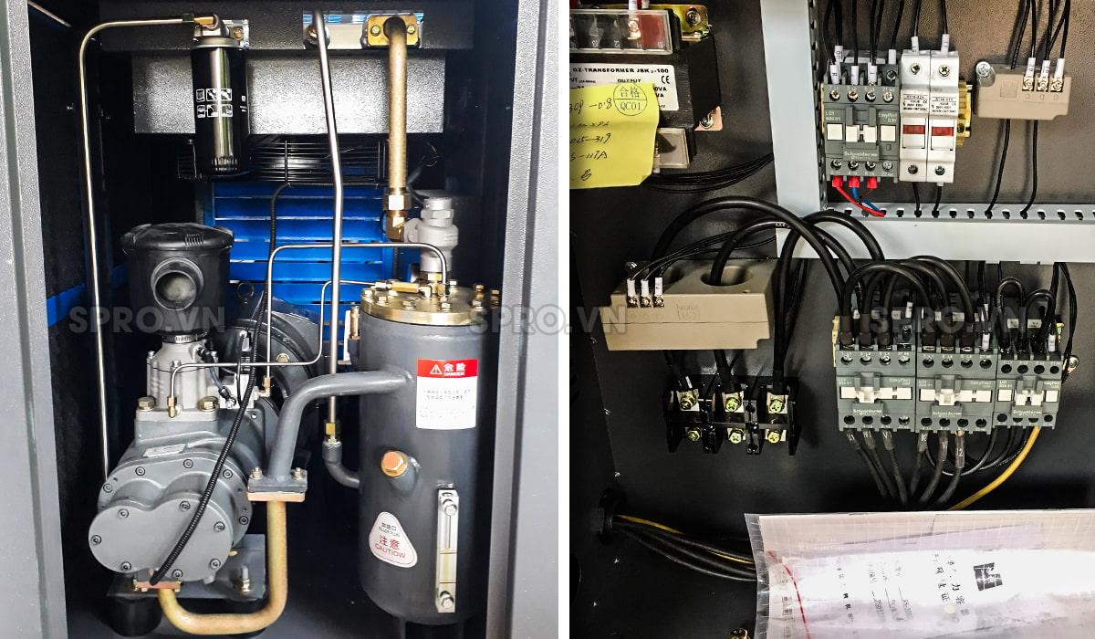 Cấu tạo Bên trong Máy nén khí trục vít 20HP giá rẻ PEGASUS TMPM20A 15kw giá rẻ