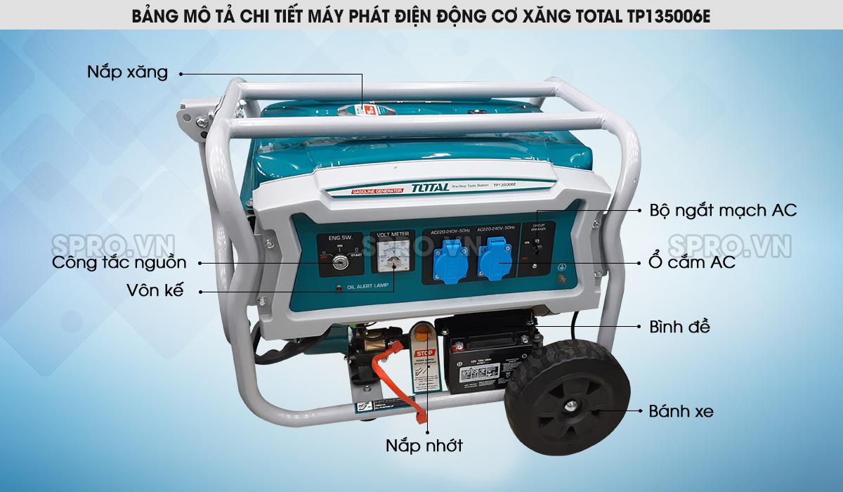 Máy phát điện chạy xăng Total 3.5kw TP135006E