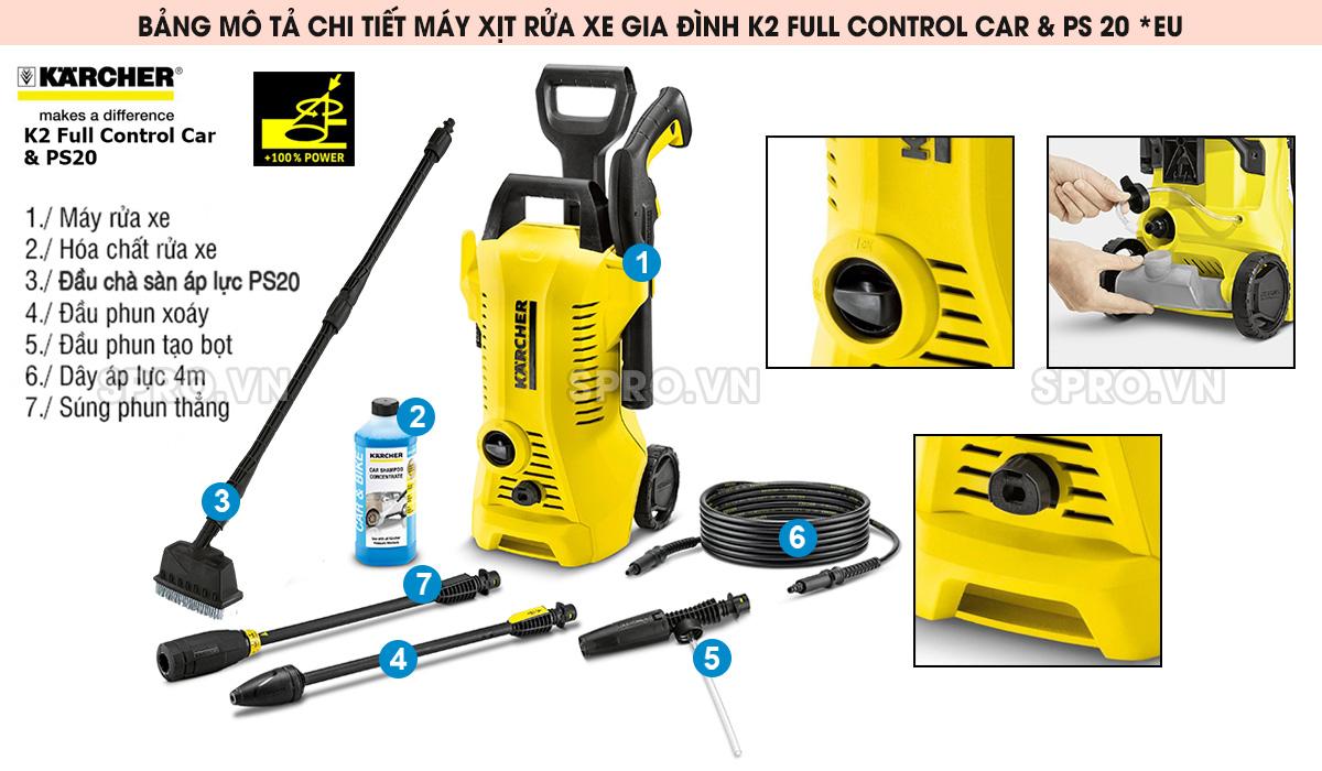 Máy xịt rửa xe gia đình K2 Full Control Car & PS 20 *EU