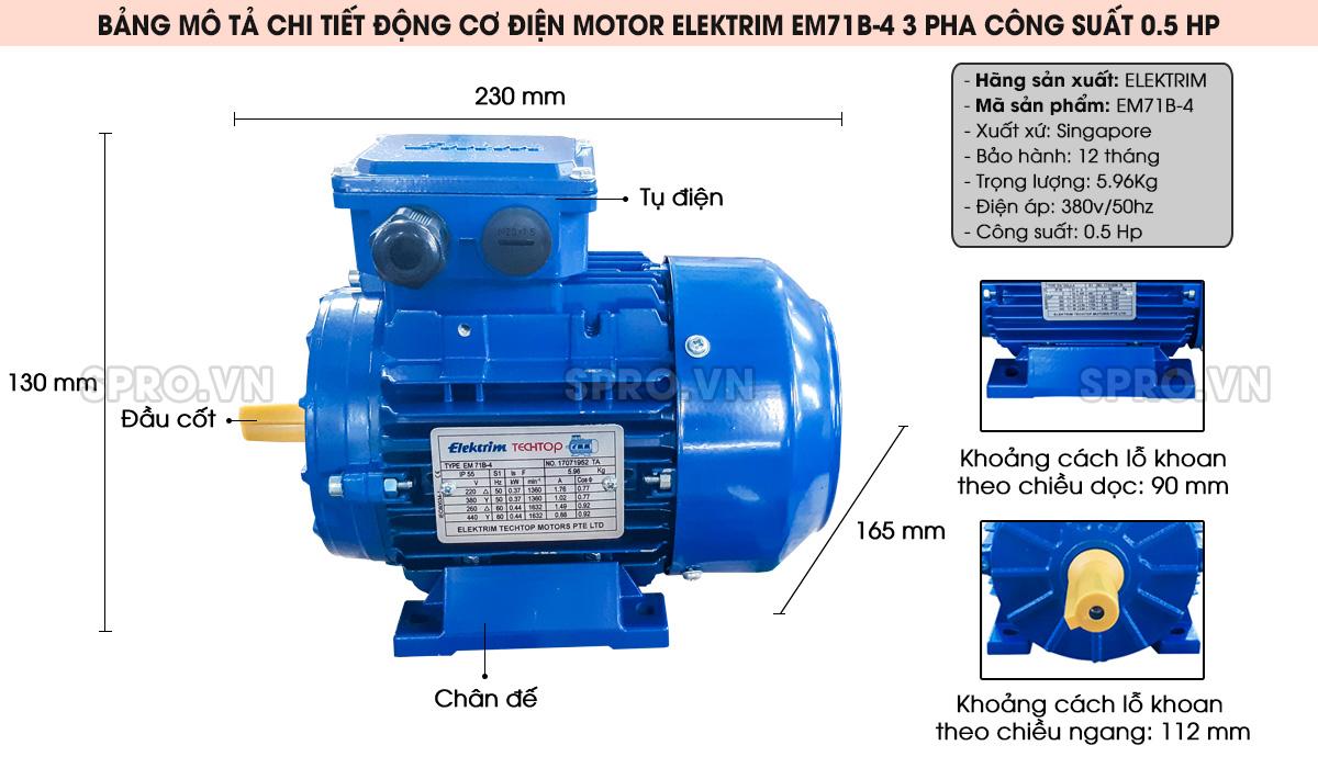Cấu tạo động cơ điện motor Elektrim EM71B-4 3 pha công suất 0.5 HP