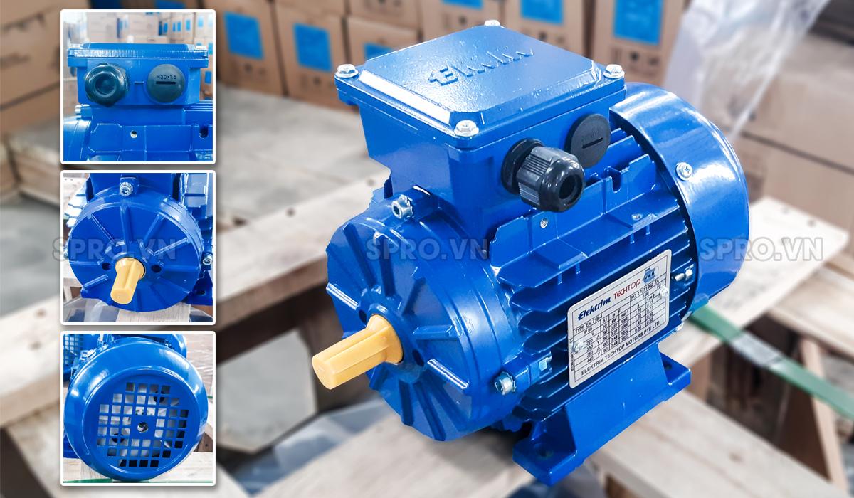 Thiết kế động cơ điện motor Elektrim EM71B-4 3 pha công suất 0.5 HP