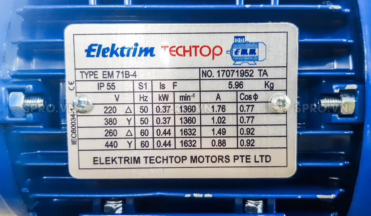 Thông số động cơ điện motor Elektrim EM71B-4 3 pha công suất 0.5 HP