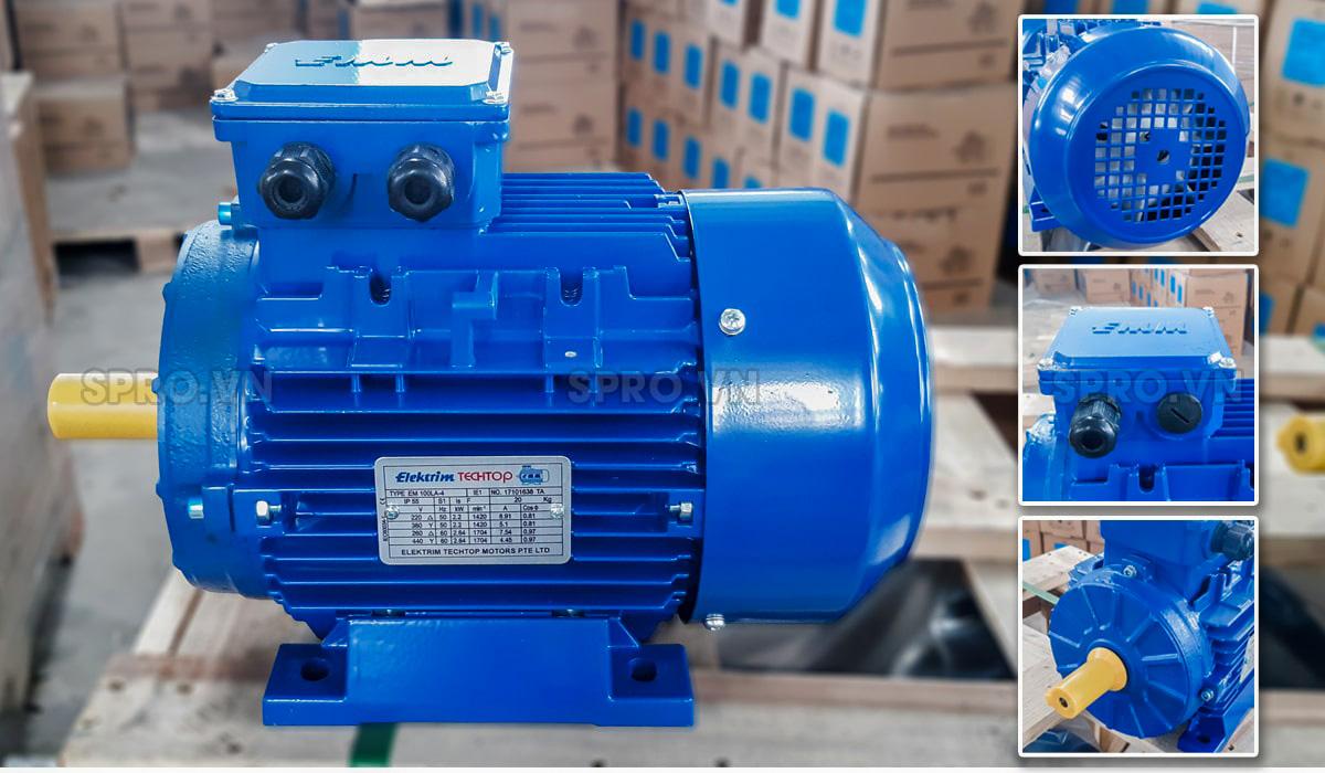 Thiết kế động cơ điện motor Elektrim EM90L-4 3 pha công suất 2 HP