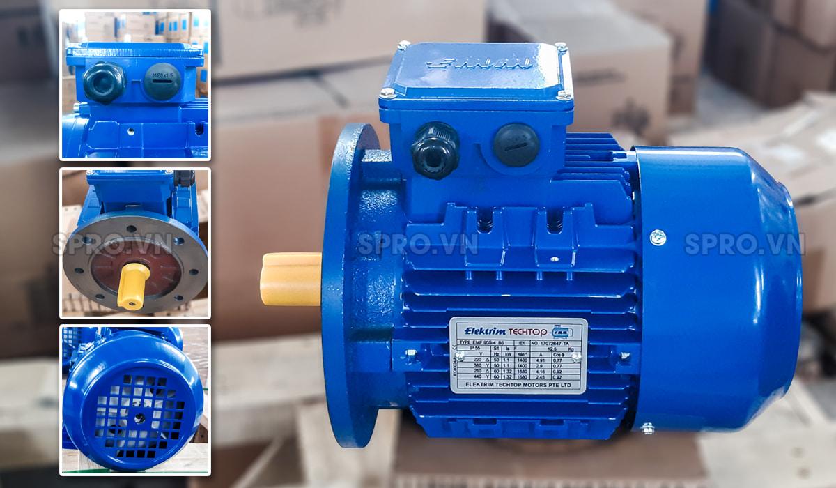 Thiết kế động cơ điện motor Elektrim EM90S-4 3 pha công suất 1.5 HP