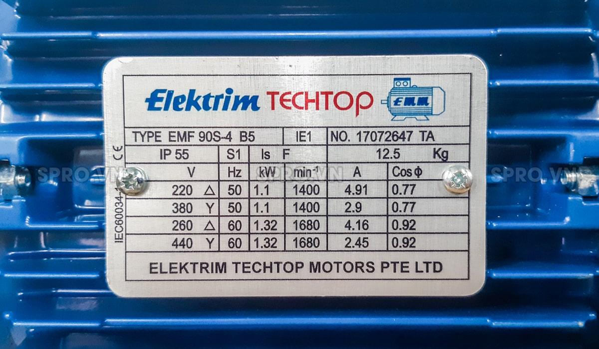 Thông số động cơ điện motor Elektrim EM90S-4 3 pha công suất 1.5 HP