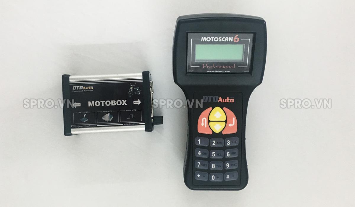máy chuẩn đoán lỗi xe máy motoscan 6.3 và phụ kiện motobox