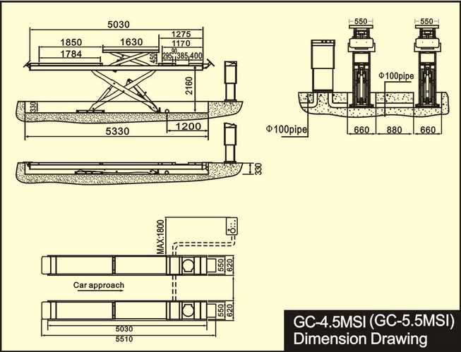 Cầu nâng cắt kéo TITANO 4.5MSI - Bàn rộng, 2 tầng