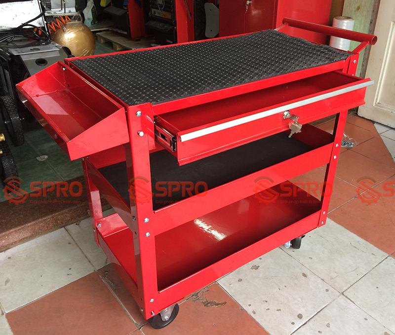 Xe đẩy đựng dụng cụ 3 ngăn với 1 ngăn kéo có khóa SPR-XDC3NB