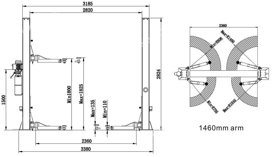 nguyên lý hoạt động cầu nâng ô tô 2 trụ Titano TB 4000S