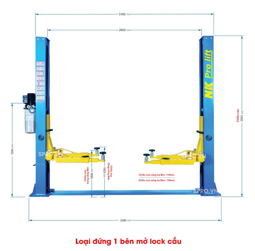 cầu nâng ô tô 2 trụ giằng dưới NK Pro Lift 4000 Pro