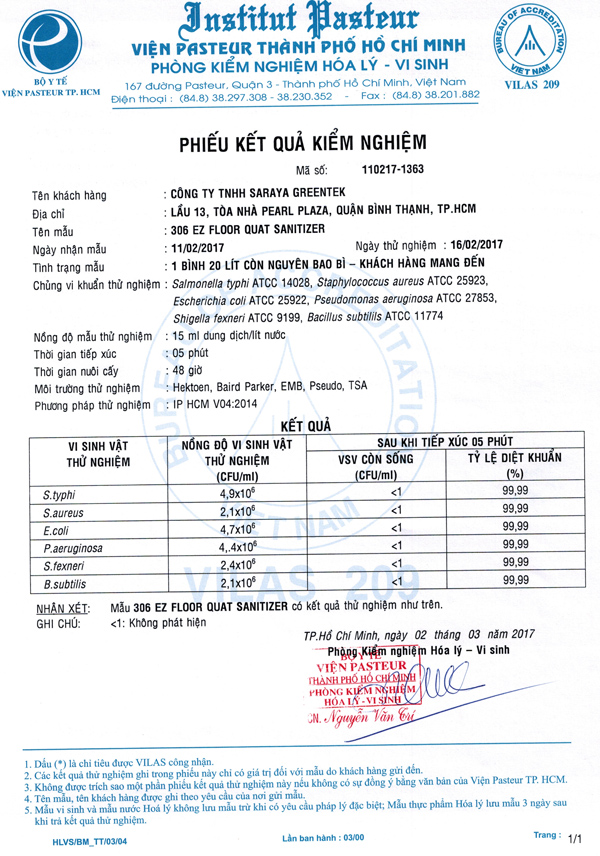 giấy kiểm nghiệm viện Pasteur chất diệt khuẩn nhà cửa Kenotek 306 EZC
