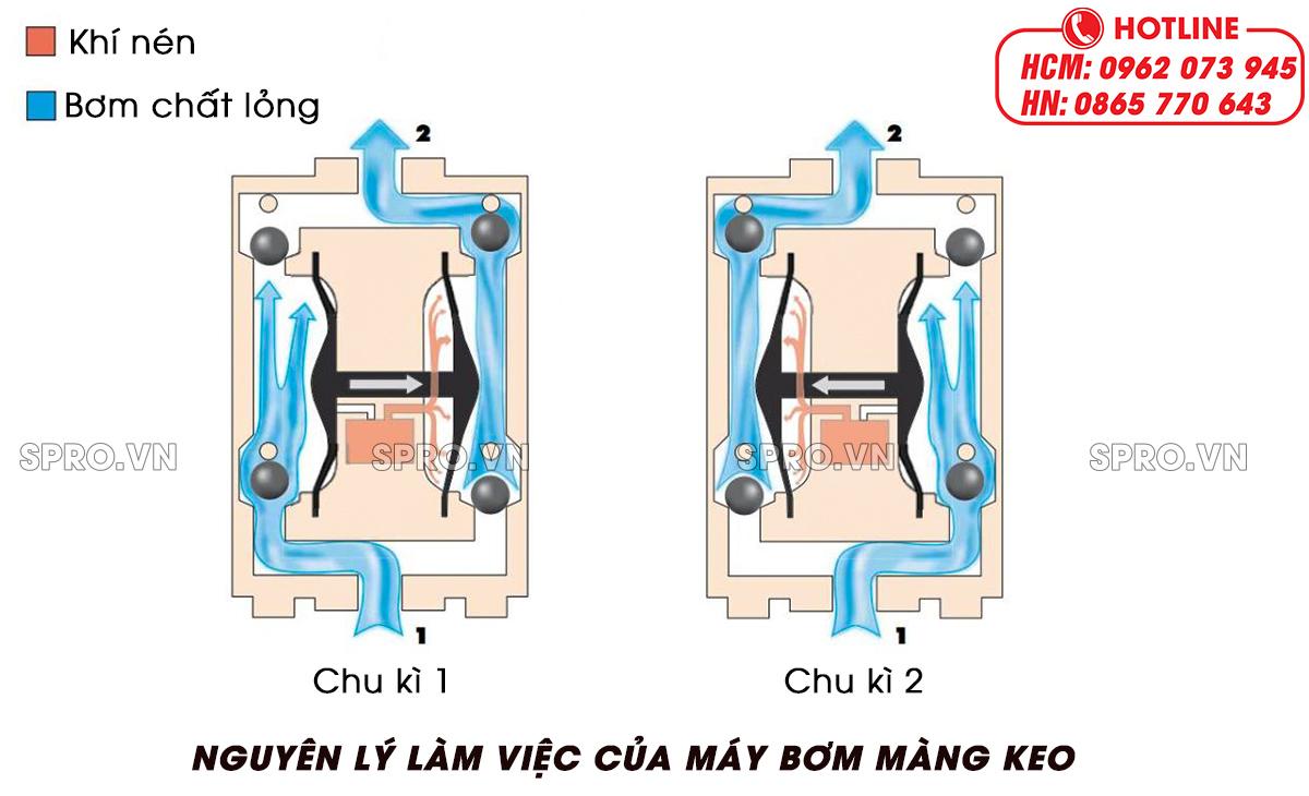 nguyên lý làm việc của máy bơm màng keo