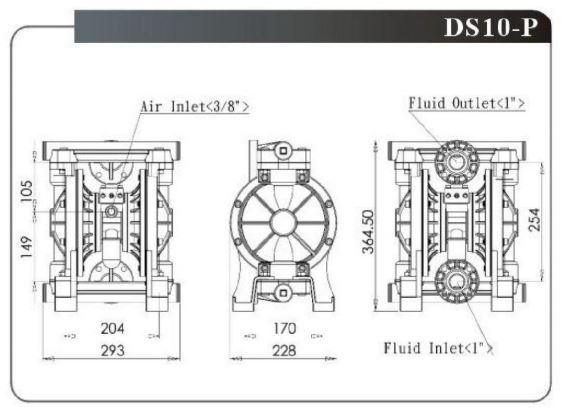Bản vẽ kỹ thuật bơm màng ds10