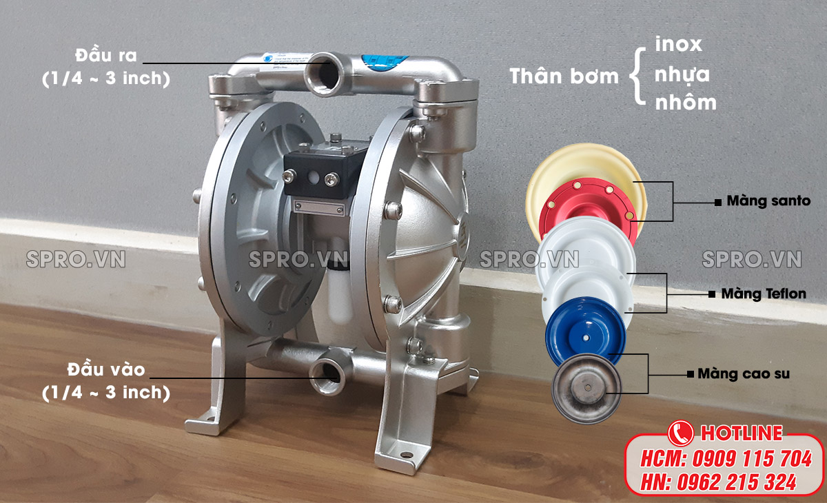 thông số cơ bản của máy bơm màng vữa xi măng
