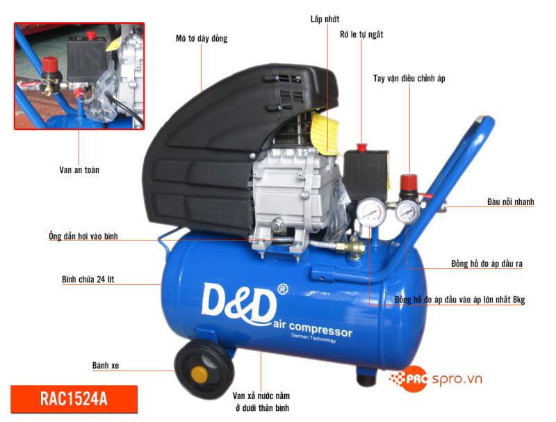 máy bơm hơi d&d rac1524a