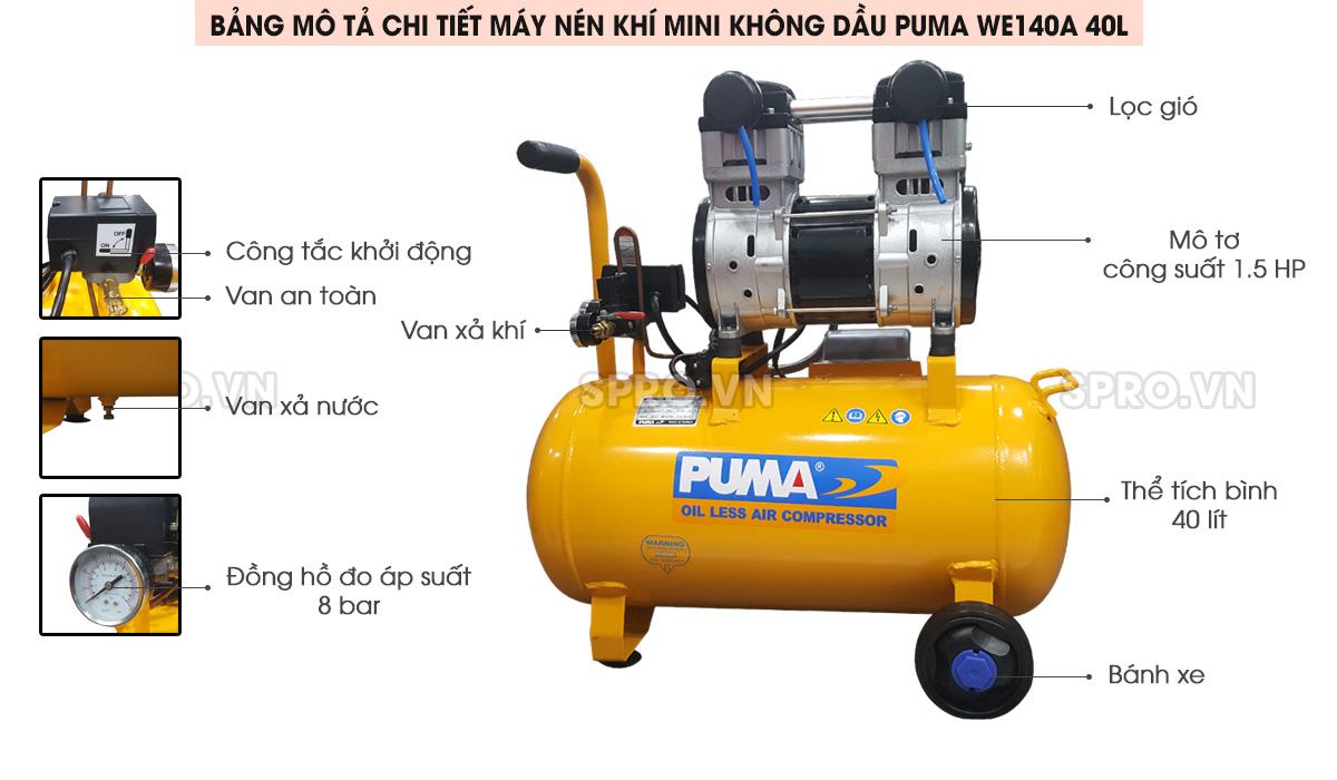 Máy nén khí mini không dầu 1.5HP Puma WE140A bình 40L