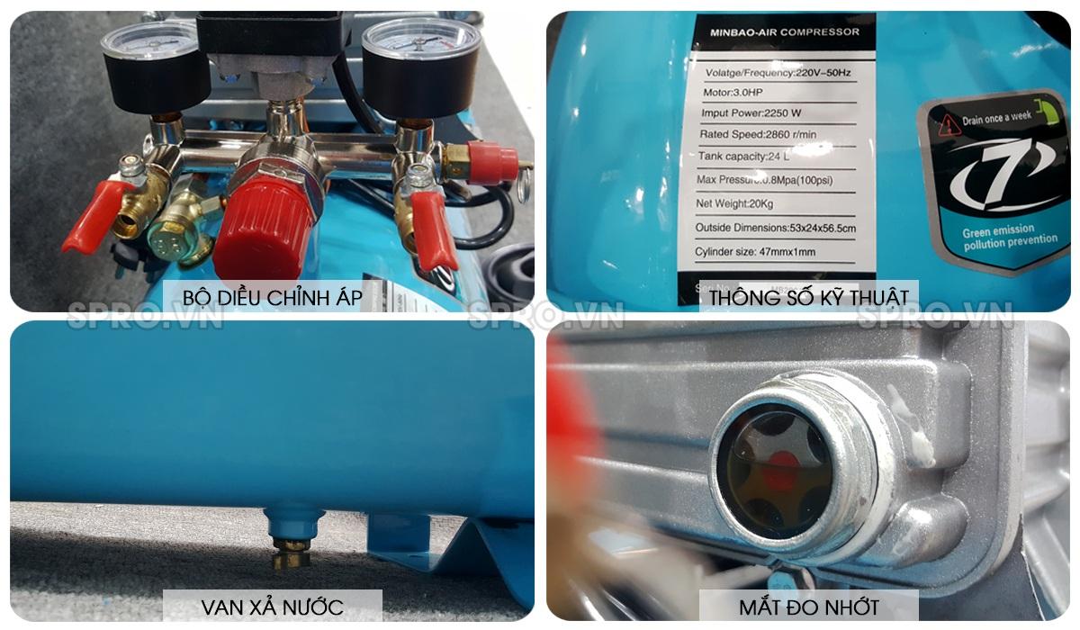 Máy bơm hơi, máy nén khí Mini 3 HP MINBAO MB24 - Dung tích 24L