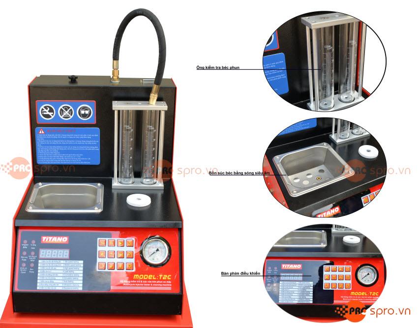 Máy súc rửa kim phun - Béc phun xăng điện tử Titano T2C