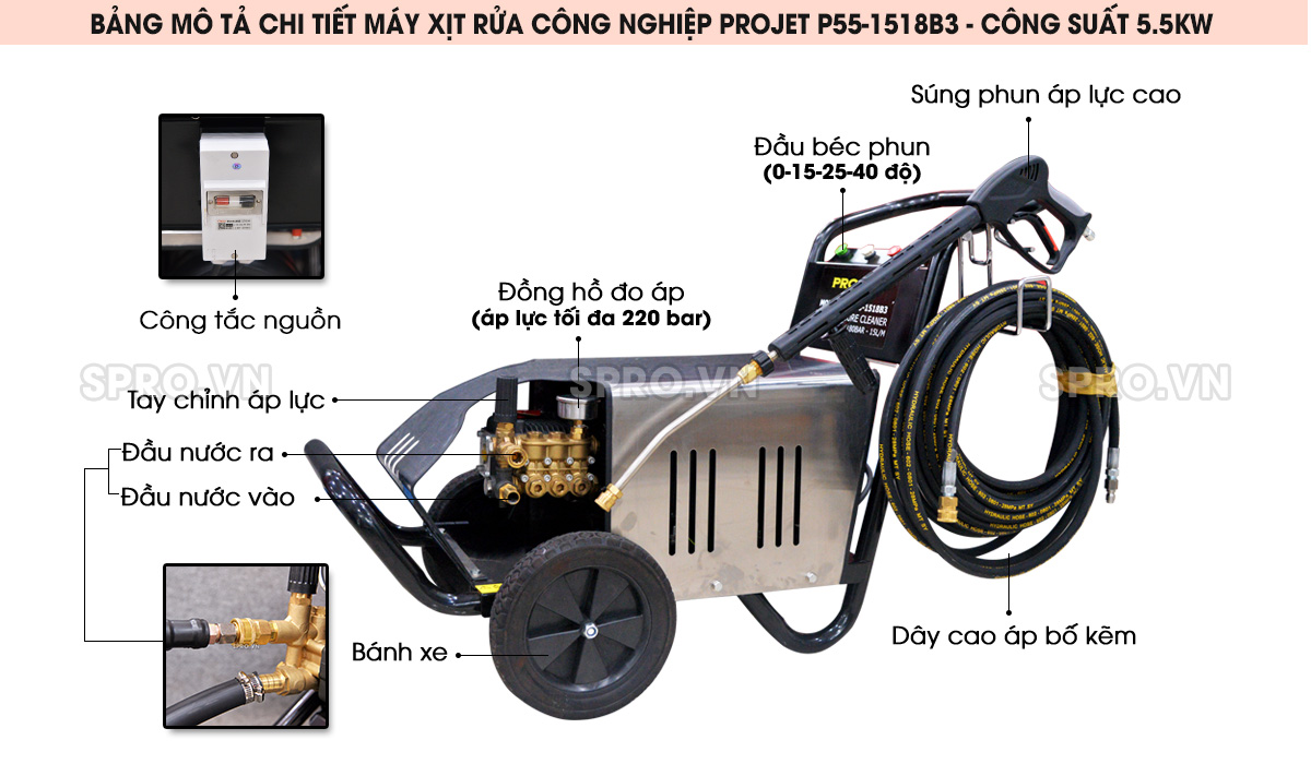 Máy rửa xe cao áp Projet P55-1518B3