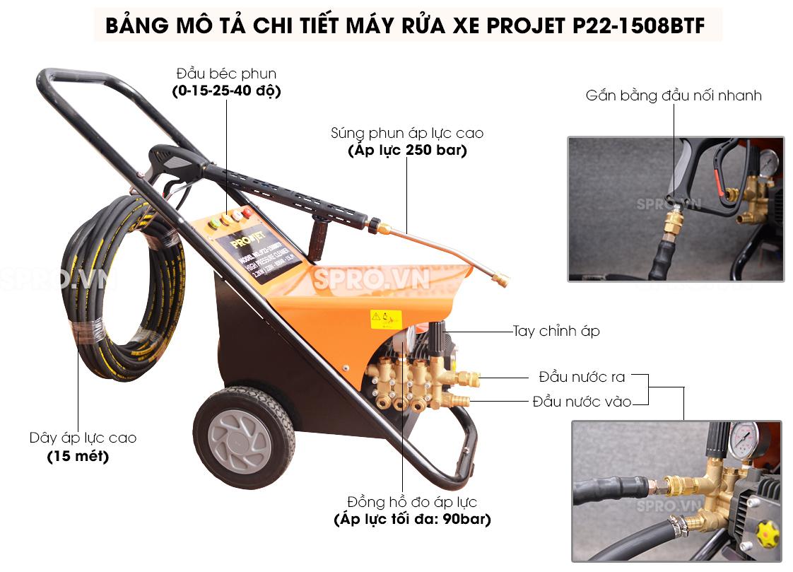 máy rửa xe áp lực cao hay máy xịt rửa áp lực cao projet P22-1508btf