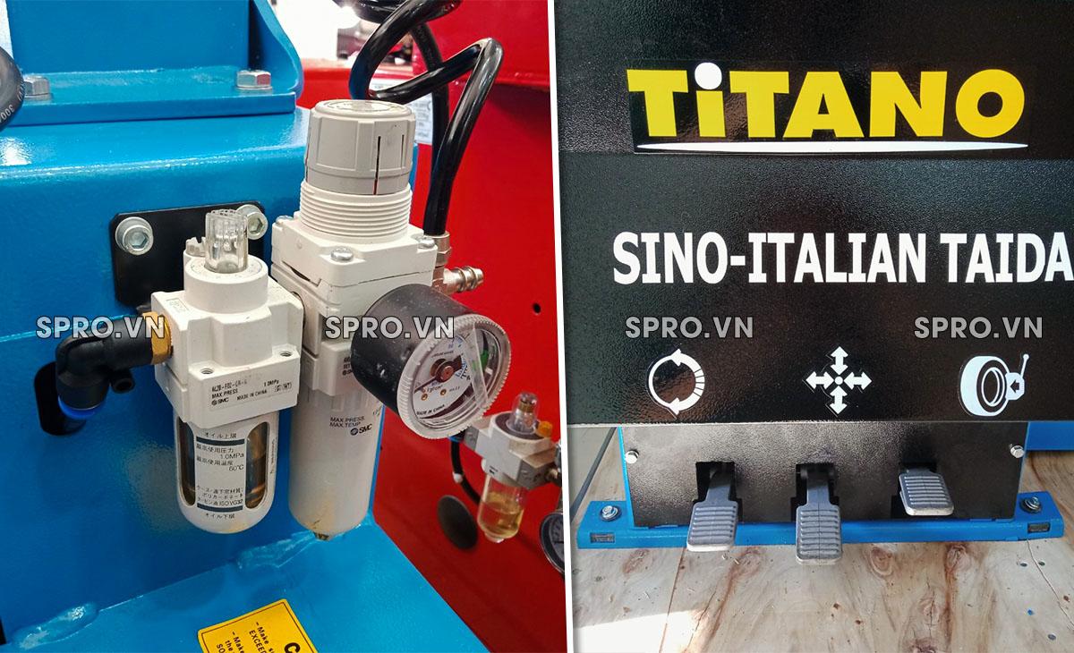 bình dầu và đạp chân máy tháo vỏ Titano STD-106