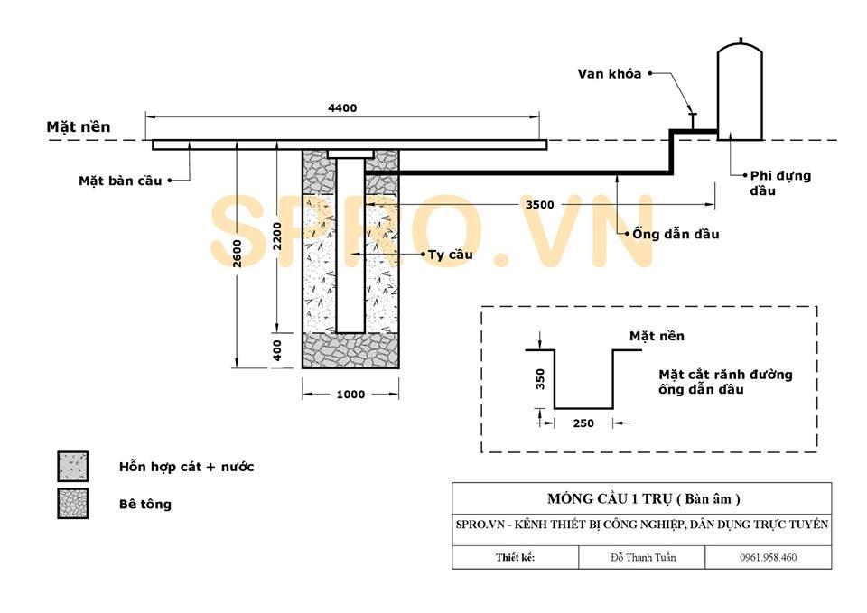 Bản vẽ cầu nâng 1 trụ âm nền NV4000-A