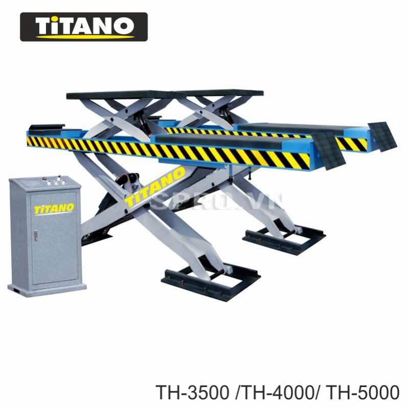 cầu nâng cắt kéo có chức năng cân chỉnh góc đặt bánh lái