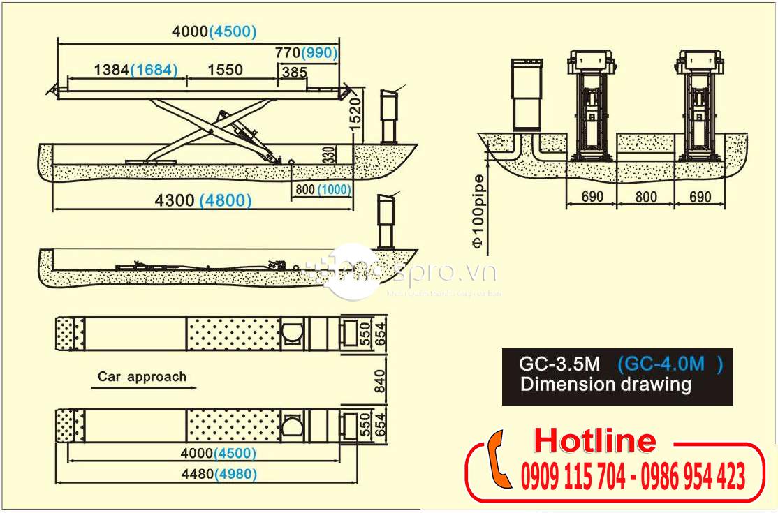 Bãn vẽ kỹ thuật của cầu nâng cắt kéo