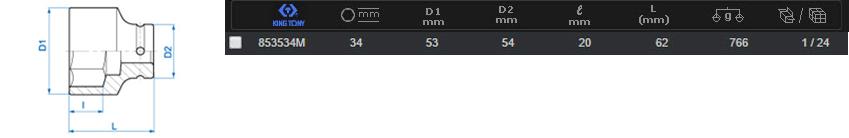Khẩu tuýp (đen ngắn) kingtony 853530M - 30mm