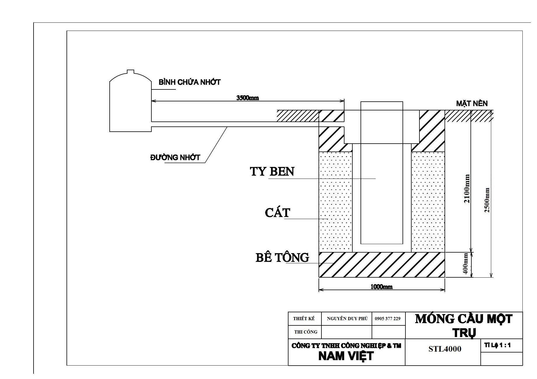 bản vẽ móng cầu nâng 1 trụ nv4000