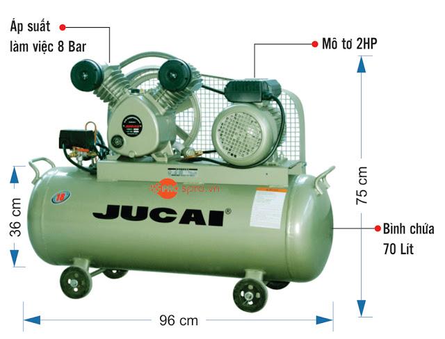 Máy nén khí piston 2HP 1 cấp Jucai AV1608 - Dung tích 70L