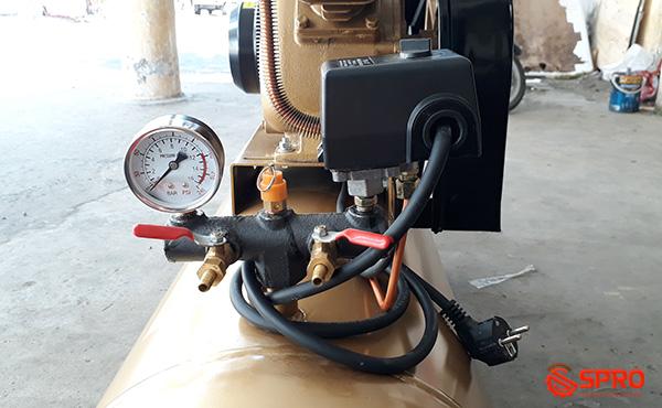 Công tắc - Đồng hồ đo áp - Van xả - Van an toàn máy nén khí pegasus 3HP