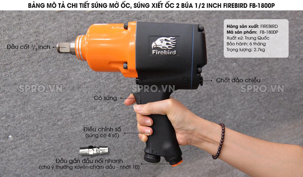 """súng xiết bu lông 1/2"""" FB-1800P"""