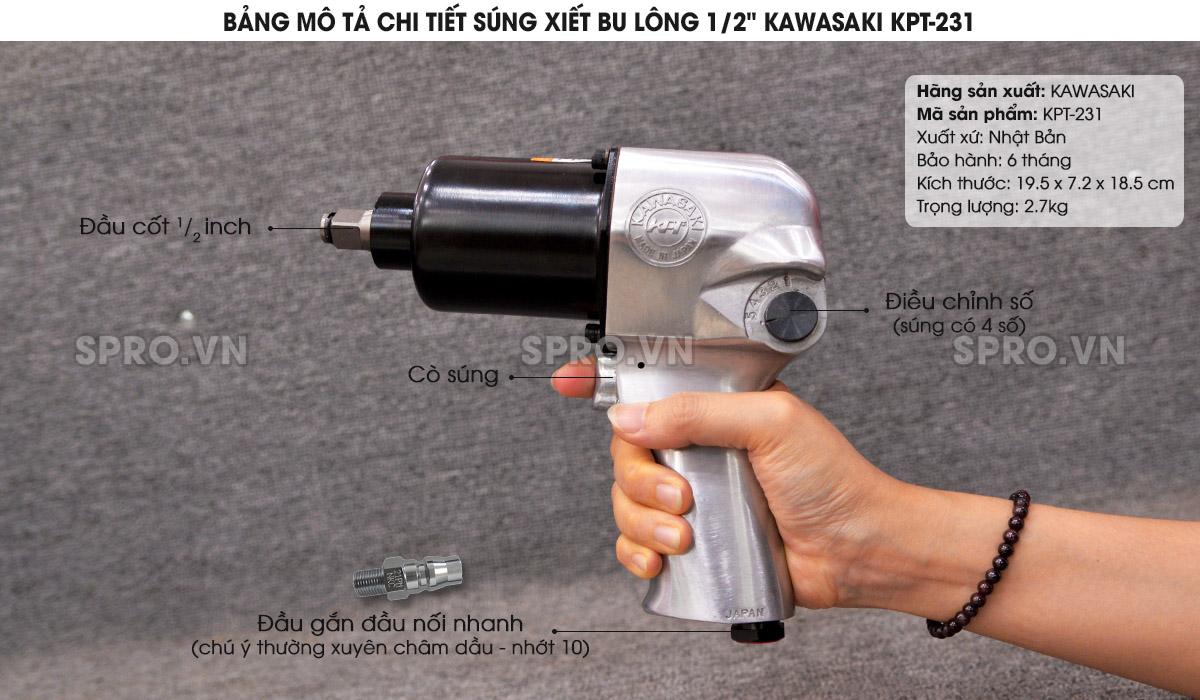 """Súng xiết bu lông 1/2"""" Nhật Bản Kawasaki KPT-231"""