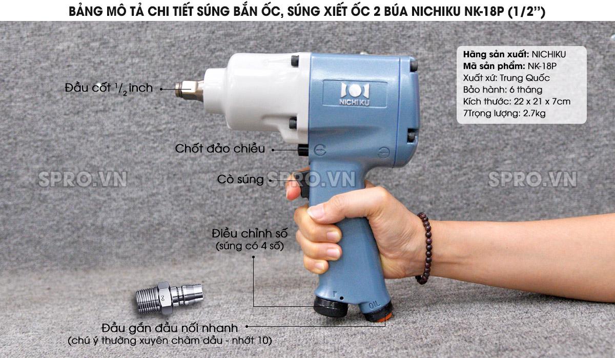 Súng bắn ốc, súng xiết ốc 2 búa Nichiku NK-18P