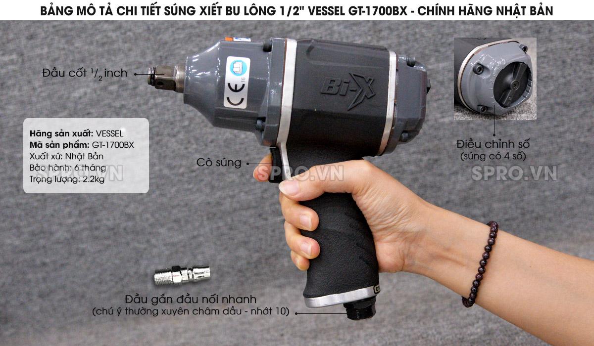 """Súng xiết bu lông 1/2"""" VESSEL GT-1700BX - Chính hãng Nhật Bản"""