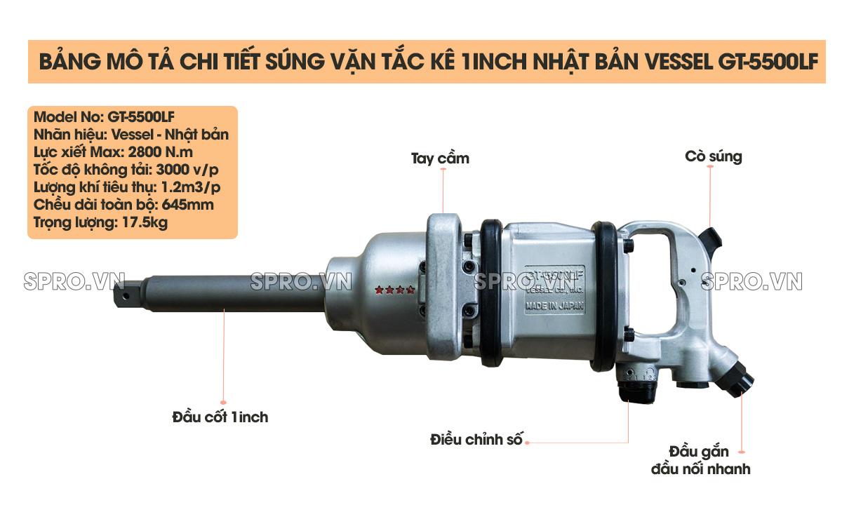 Súng mở ốc, súng vặn tắc kê 1 inch Nhật Bản VESSEL GT-5500LF