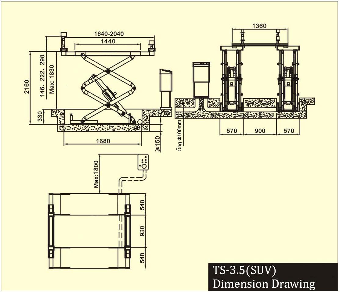 Cầu nâng cắt kéo, cầu nâng kiểu xếp 3.5 tấn