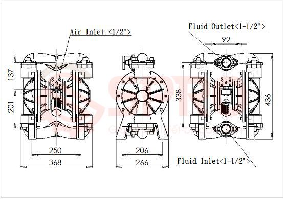 bản vẽ kĩ thuật máy bơm màng khí nén thân nhôm tds
