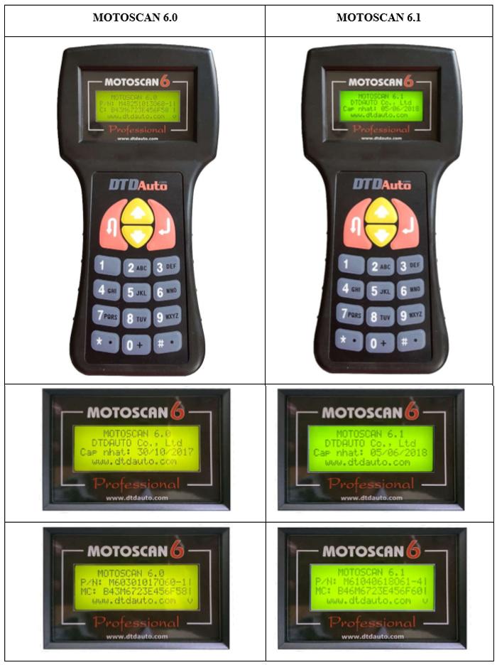So sánh giao diệngiữa MOTOSCAN 6.0 VÀ MOTOSCAN 6.1