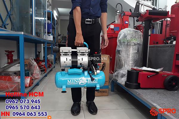 Máy bơm hơi mini không dầu không ồn giá rẻ loại xách tay minbao
