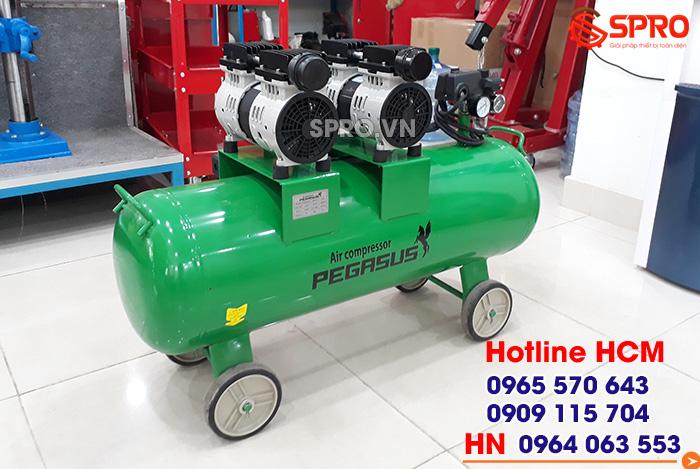 HCM - Bán máy nén khí không dầu giảm âm pegasus dung tích 70L giá rẻ